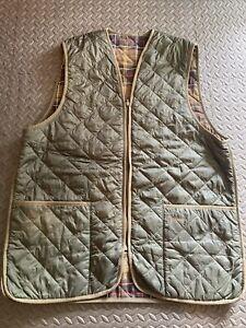 Barbour Quilted Waistcoat Zip in Liner Green Gilet Size 44 Tartan For Wax Jacket