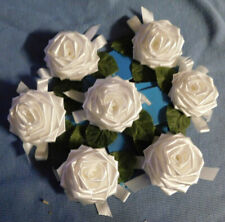 "7 NEW SMALL BEAUTIFUL VINTAGE ROSE GIFT BOWS--Each is 2-1/4"" across"