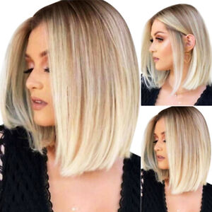 Natural Women's Short Straight Ombre Wigs Blonde Light Gold Ladies Bob Hair Wigs