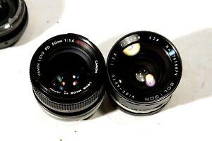 one lot of 2 lenses for Canon FD: 50 1.4 SSC (slight haze), 28 2.8 Soligor