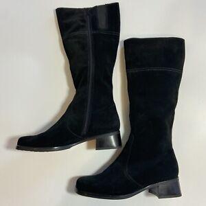 La Canadienne Laren Size 10M Tall Black Suede Boots Full Zip Stacked Low Heel