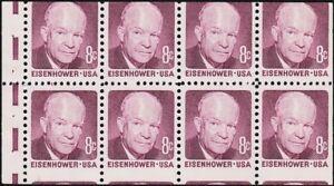 US - 1970 - 8 Cents Claret Dwight D. Eisenhower Miscut Jumbo Booklet Pane #1395a
