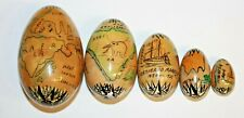Vintage Wooden Hand Painted Old Map Matryoshka Stacking Eggs Nesting Doll