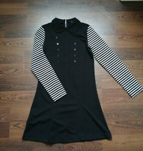 Black 1960s Mary Quant style mod dress by Pop Boutique LuLu dress striped sleeve