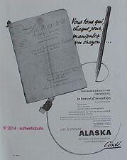 PUBLICITE CONTE CRAYON A PAPIER ALASKA POUR ECOLIER DE 1949 FRENCH AD PEN PUB