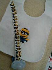 minions   personalized with yr childs name  dummy clip bib sets