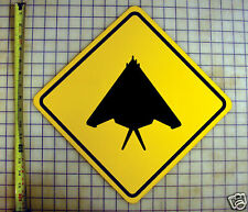 F117 STEALTH JET YELLOW ALUMINUM SIGN
