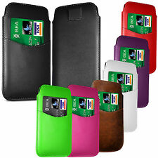 PREMIUM CARD SLOT PU LEATHER PULL FLIP TAB CASE COVER POUCH FOR SAMSUNG PHONES