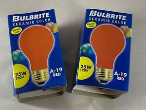 2 Bulbrite 25A/CR 25-Watt Incandescent Standard A19, Medium Base, Ceramic Red