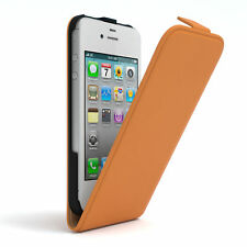 Tasche für Apple iPhone 4 / 4S Flip Case Schutz Hülle Handy Cover Orange