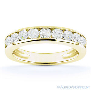 Forever Brilliant GHI Round Cut Moissanite 14k Yellow Gold 10-Stone Wedding Band