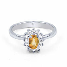 Citrine Solitaire with Accents Fine Rings