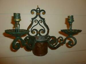"""Vintage 14""""  French Wall Sconce & Planter Wrought Iron Copper Green Gold 4Repair"""