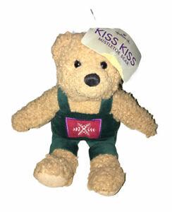 Hallmark Kiss Kiss Mistletoe Bear Brown Green Overalls Magnetic Nose Plush