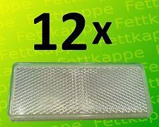 12 x Rückstrahler weiß zum kleben 90 x 40 mm mit Prüfzeichen - Reflektor