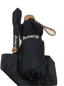 Burberry's All Black Double Fold Umbrella Compact W/ Sleeve Authentic