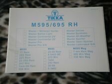 Tikka M595 M695 Rh Right-Handed Operators Manual - Genuine Oem - New
