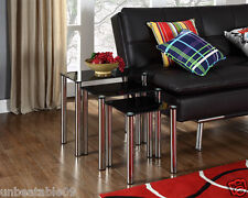 Nest of 3 Tables Black Glass Side End Square Modern Nesting Set Chrome Legs