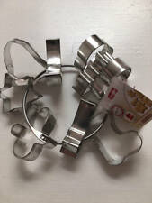 "Zenker Mini Christmas Pie Cookie Cutters Set 9 On Ring Metal 2 1/2"" NEW"