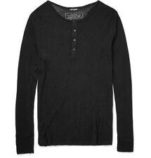 Authentic New Balmain Paris Henley Tee Pullover Sweater Knit Wool Black XXL