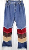 RIDE Jeans 5/6 Three Layers of corduroy Denim Multi Colors Boho Hippy