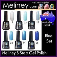 Blue Meliney 3 Step Gel Nail Polish Colours UV LED Soak Off Professional Salon