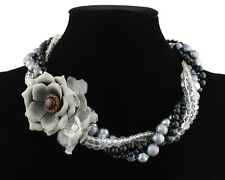 .925 Sterling Silver Tahitian Pearl & Onyx Beaded Multi-Strand Flower Necklace!