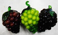 3 VINTAGE ART GLASS BLOWN BUNCH GRAPES PURPLE & GREEN WITH GREEN LEAFS STEMS