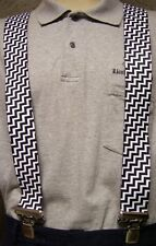 """Suspenders 2""""x48"""" FULLY Elastic Zigzag Black and White NEW"""