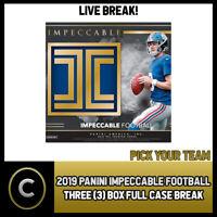 2019 PANINI IMPECCABLE FOOTBALL 3 BOX (FULL CASE) BREAK #F305 - PICK YOUR TEAM