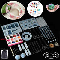 Resin Casting Molds,83 Pcs Mold Tools Kit for Crafts Silicone Epoxy Mold for DIY