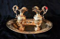 Superb antique set of altar cruets Baroc style brass gilt
