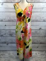 Vintage Hawaiian Maxi Dress Floral V-Neck Sleeveless S Honolulu Hawaii Handmade