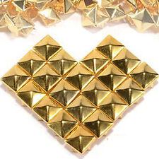 100 Pcs Pyramid Studs Square Stud Rivet DIY Spike Punk Spikes Spots 10mm Gold