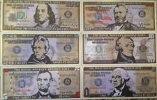PLAY MONEY NOVELTY BUCKS $1 $5 $10 $20 $50 $100 SET OF (6) DIFFERENT USA SELLER