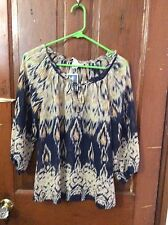 New KENAR Blue Ivory Yellow print SHEER long sleeve TOP Shirt size XS