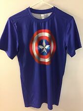 Captain America Compression Shirt- Men's Large - Blue