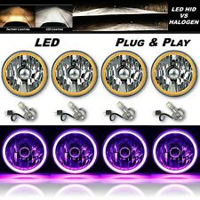 "5-3/4"" Purple COB LED Halo Angel Eye Crystal Clear Headlamp 6k LED Bulb Set of 4"