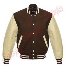 Brown Varsity  Letterman Wool Jacket with Cream Real Leather Sleeves XS-4XL