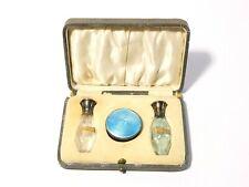 1925 Guilloche Enamel Silver Cut Glass Miniature Perfume 2 Bottles & Compact Set