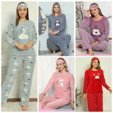 Damen Pyjama POLAR Schlafanzug 3-Teiler Set mit Augenband Lang Warm A-09