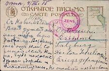 Kriegsgefangenpost Russland 1915 Lager mit Österreichischer Zensur auf Glückw. K