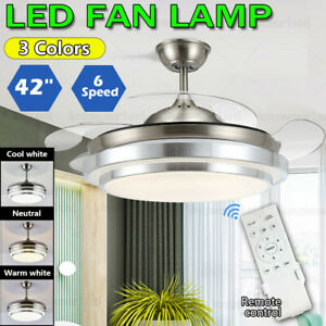 42'' Ceiling Fan with 3 Colors LED Light Retractable Blade and Remote Control AU