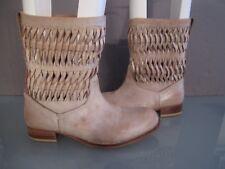 Ilse Jacobsen Khaki Leather Woven Ankle Boots Size 37 6.5/7 Edgy SALE!!