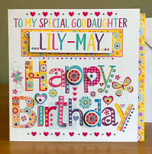 Goddaughter birthday card. Special and personalised for a Goddaughter