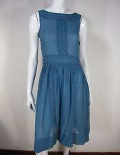 DKNY NWT Sleeveless 100% Silk Boat Neck Sheer Sheath Dress Size 4 Solid Blue