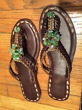 sandal Bou Bou Colo Nies brown leather aqua green blue stone gold size 37