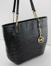NEW AUTHENTIC MICHAEL KORS BLACK GRAY JET SET CHAIN ITEM NS TOTE HANDBAG CROC