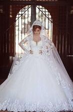 Long Sleeve White Ivory Empire Lace Wedding Dress Bridal Gown Custom plus size