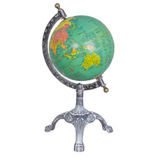Antique Style Green Ocean World Map Globe Atlas Claw Base Metal Accent 12x36cm